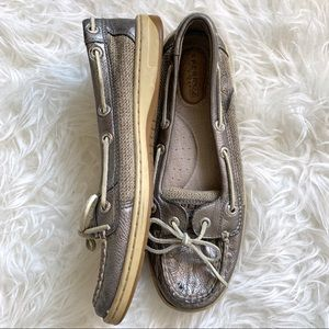 Sperry top sider metallic silver boat shoe loafer